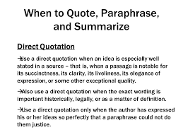 Paraphrasing Summarizing And Using Direct Quotes Ppt Video