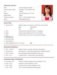 cv english example resume teacher - English Resume Format