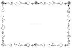 クローバーのフレーム 白黒 イラスト素材 5400694 フォトライブ