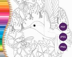 Thousands of printable coloring pages, for kids and adults! Hummingbird Coloring Pages Printable Adult Nature Coloring Etsy