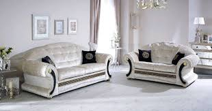 Versace champagne crushed velvet sofa with swarovski crystals