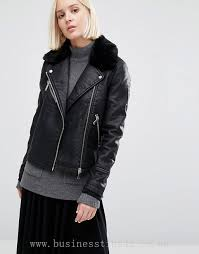 women s jackets coats warehouse faux fur collar leather look jacket 941313