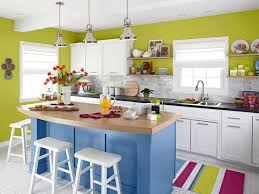blue kitchen designs. Green Wall Color With Blue Kitchen Island Design And Stylish White Stools For Colorful Designs