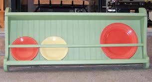 Vintage Plate Rack - Plate Display - Wood Wall Cabinet Shelf -Green