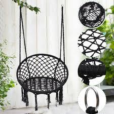 black macrame hammock chair hanging woven cotton rope swing outdoor garden 120kg