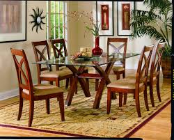 rectangular glass top dining table feature varnished wooden legs cross shaped and dining chair set