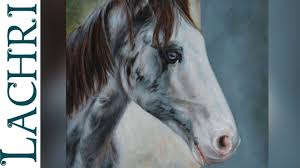 time lapse blue roan horse sd painting oil over acrylic paint demonstration by lachri