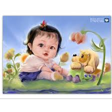 girl dog flowers diamond embroidery baby paintings from rhinestones set for