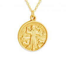 gold plated necklace st francis of assisi