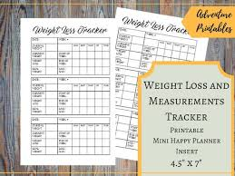 Weight Loss And Measurements Tracker For The Mini Happy Planner Printable Fitness Planner Weekly Weight Loss Tracker Weight Loss Results