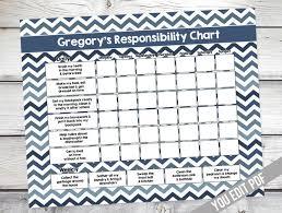 Chore Chart For Kids Teen Reward Chart Responsibility Chart Weekly Chore Chart Behavior Chart Kids Chore Chart Printable You Edit Pdf