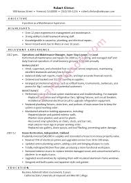 Resume Sample Maintenance Supervisor