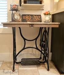 my new rustic writing desk from a salvaged sewing treadle and reclaimed wood