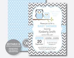 Owl Baby Shower  EtsyOwl Baby Shower Invitations For Boy