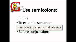 Using Semicolons In Lists