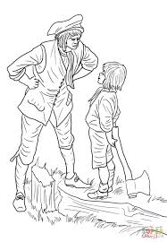 Small Picture George Washington and the Cherry Tree coloring page Free