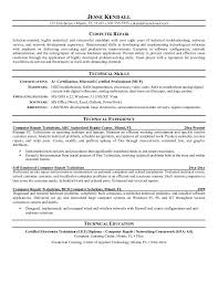 Technical Resume Examples Building Of Tutorial Computer Repair