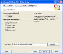 Office 2003 The Office 2003 Installation Process First Look Microsoft