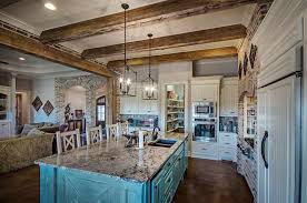 Rustic white kitchens Contemporary Rustic White Kitchen Cabinets Country Style Kitchen With Painted Blue Island Porcelain Tile Floors And Granite Island Designing Idea 35 Beautiful Rustic Kitchens design Ideas Designing Idea