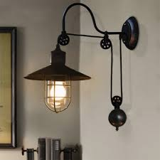 Image Galvanized Industrial Style Adjustable Light Wall Sconce In Black With Wire Guard Farmhouse Study Room Lights Takeluckhome Industrial Style Adjustable Light Wall Sconce In Black With Wire