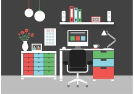 free home office. free modern home office interior vector icons