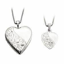 mother and daughter matching scroll design heart locket and pendant set in sterling silver