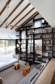 Gorgeous Bookshelf Design for Tidy Room Design  Black Bookcase In Large  Living Room With White
