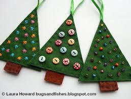 felt christmas tree ornaments decorated with embroidery buttons and beads