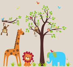 pretty jungle baby room ideas designed by assorted color animal wall stickers on beige wall on jungle animal wall art with pretty jungle baby room ideas designed by assorted color animal wall