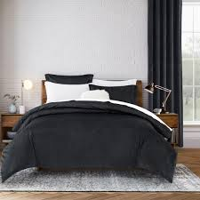 crushed velvet 3 piece black duvet set