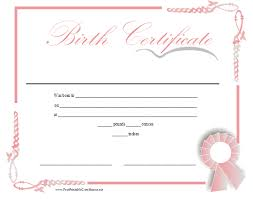 Baby Certificate Maker Adorable A Printable Birth Certificate In Shades Of Pink For A Baby Girl