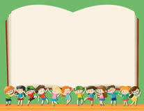 background template with kids holding big book royalty free stock image