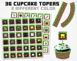 Minecraft Cupcake Topper 2 Color Variations Minecraft Topper Free