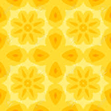 Seamless Simple Texture With A Yellow Flower And Stylised Orange