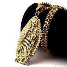 whole 2018 new design gold virgin mary pendant necklace steel religious mother mary necklaces hip hop jewelry for men women gold pendant