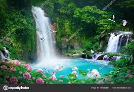 Wallpaper 3D natural waterfall view ...