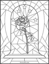Stained Glass Rose Coloring Page Favecraftscom