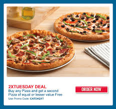 domino s pizza canada 2x tuesday deals any pizza and get a second pizza free with promo code more offers