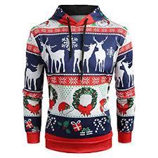 Dresslily Christmas Ugly Plus Size Long Sleeve Snowman Santa Claus Elk Snowflake Print Hoodie With Kangaroo Pocket