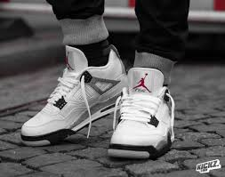 jordan 4 retro. air jordan 4 retro og white cement on feet 1