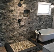 wood floor for bathroom. Marble Floor Bathroom With Tile Niche; Pebbled Shower Stone Wall Niche And Hardwood Wood For