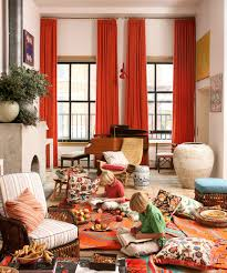 Orange Decorating For Living Room Contemporary Orange Curtains Designs Rodanluo