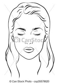 Blank Face Charts To Print Woman With Closed Eyes Vector