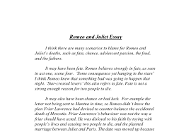 romeo and juliet blame for their deaths gcse english marked  document image preview