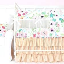 peach crib bedding fairy tale fl ruffle baby girl mint and gold