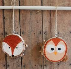Deko Mit Holzscheiben Bemalen Tiere Fuchs Eule Einfach