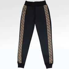 Womens Designer Tracksuit Bottoms Fendi Ff Jersey Black Womens Jogging Bottoms