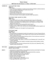 Inventory Clerk Resume Samples Velvet Jobs Stock S Sevte