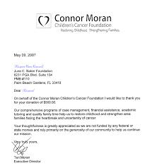 Thank You Letter From Teri Moran Executive Director Of Connor Moran