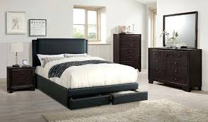 Queen Size Bed Frame Setup Mattress Set And Headboard Black Leather ...